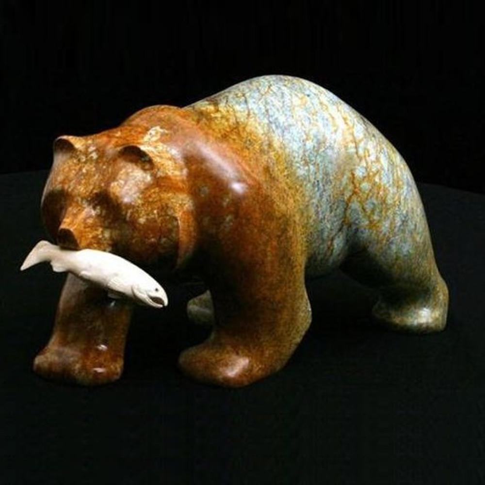 Bear Walking with Fish Stone Sculpture | Douglas Creek | DC1200