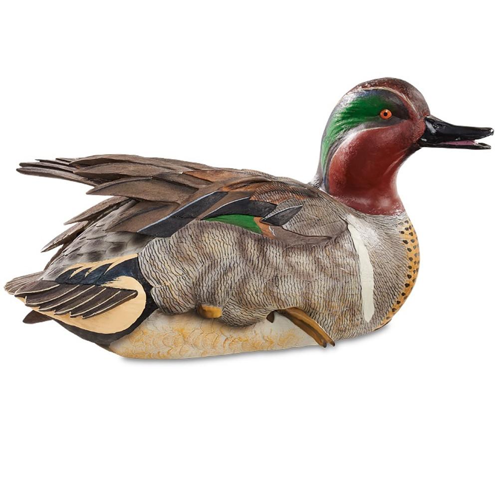 Preening Green Winged Teal Duck Waterfowl Sculpture | Loon Lake Decoy | 6538509004