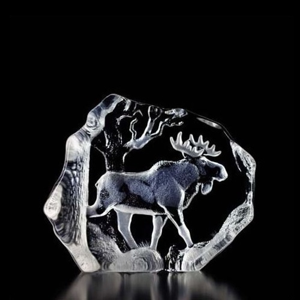 Bull Moose Crystal Sculpture | 33566 | Mats Jonasson Maleras