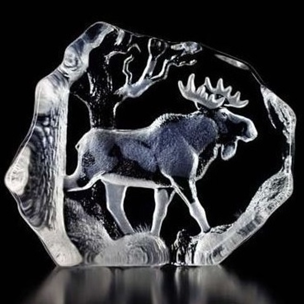Bull Moose Crystal Sculpture | 33566 | Mats Jonasson Maleras -2