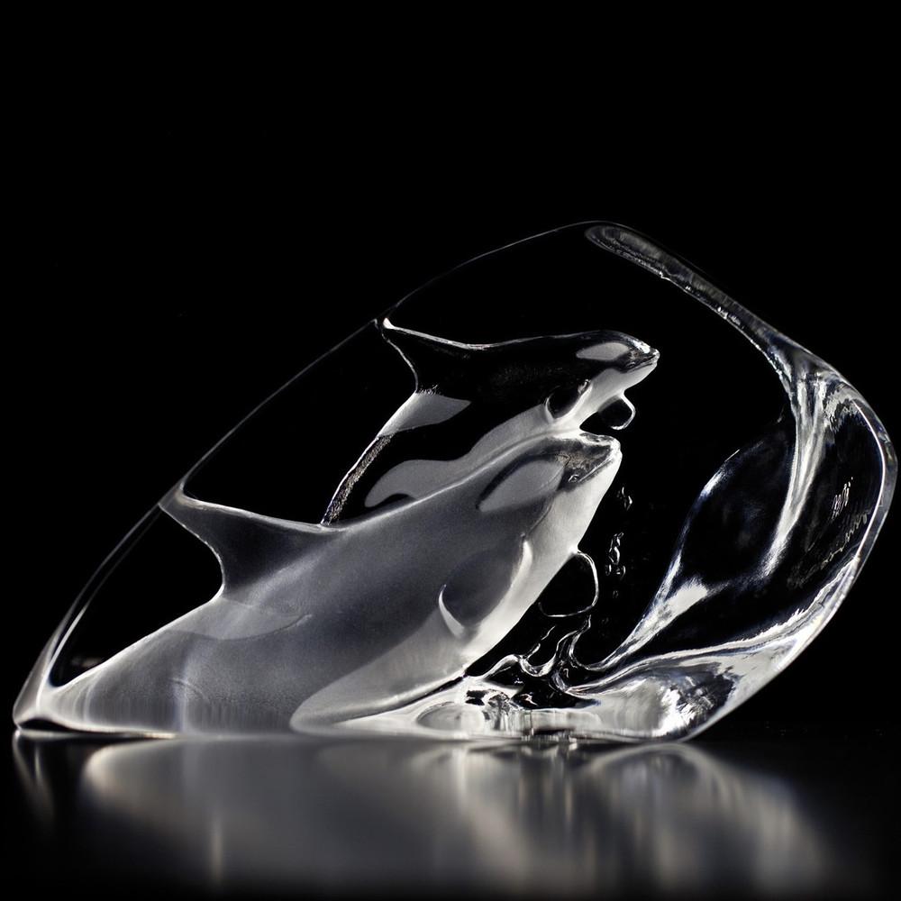Killer Whales Crystal Sculpture | 33577 | Mats Jonasson Maleras