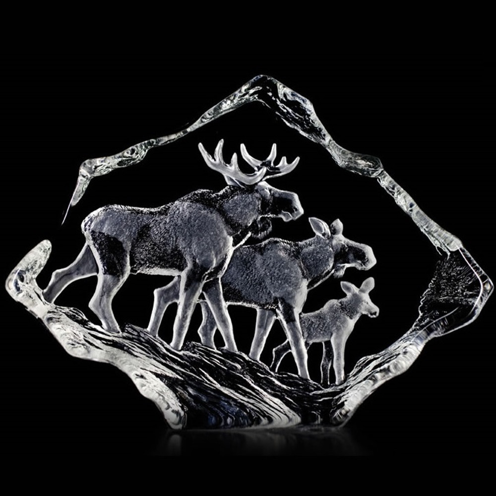 Moose Family Crystal Sculpture | 33636 | Mats Jonasson Maleras
