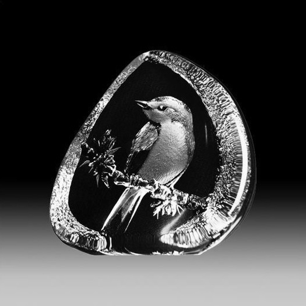 Flycatcher Crystal Bird Sculpture | 33638 | Mats Jonasson Maleras