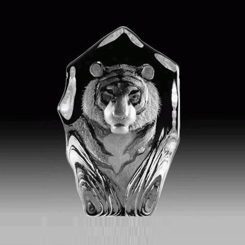 Tiger Face Crystal Sculpture | 33686 | Mats Jonasson Maleras