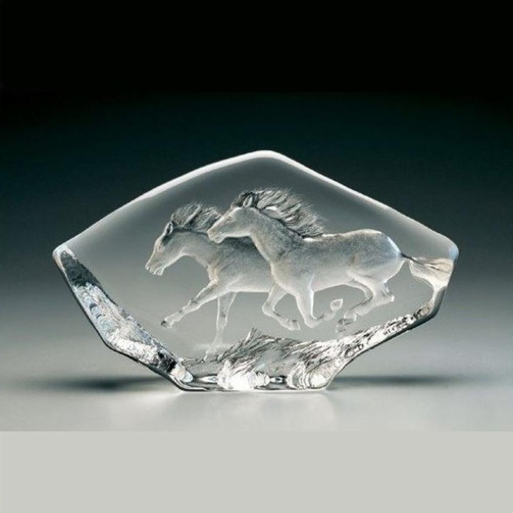 Horses Running Crystal Sculpture | 33716 | Mats Jonasson Maleras