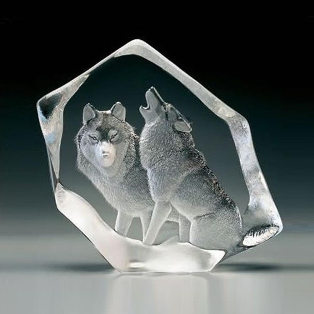 Wolf Pair Crystal Sculpture | 33723 | Mats Jonasson Maleras