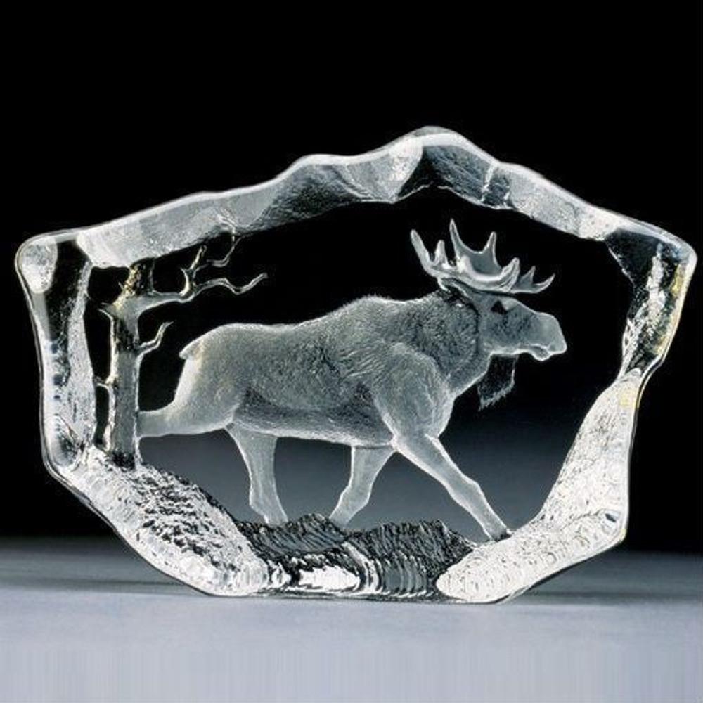 Moose Stride Crystal Sculpture | 33747 | Mats Jonasson Maleras