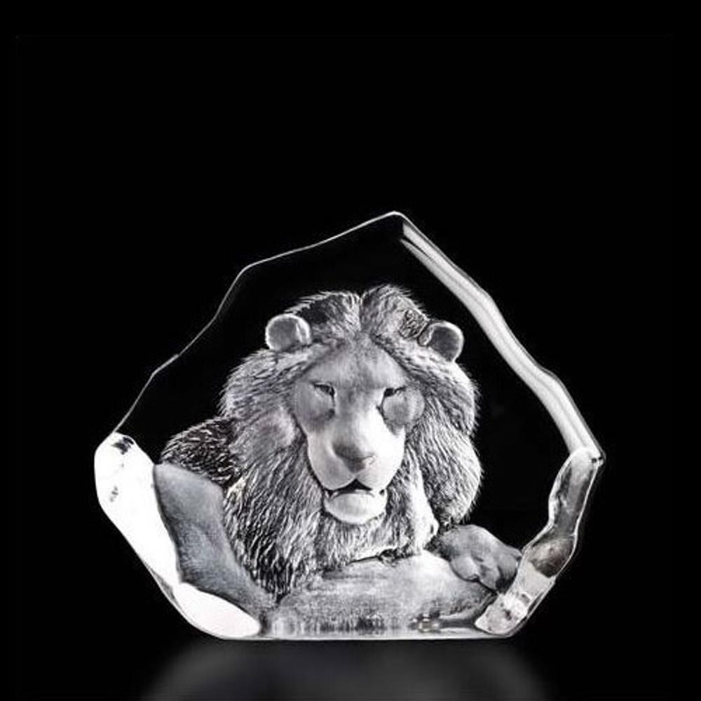 Lion Head Crystal Sculpture | 33781 | Mats Jonasson Maleras