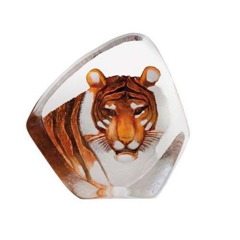 Tiger Head Color Crystal Sculpture | 33861 | Mats Jonasson Maleras