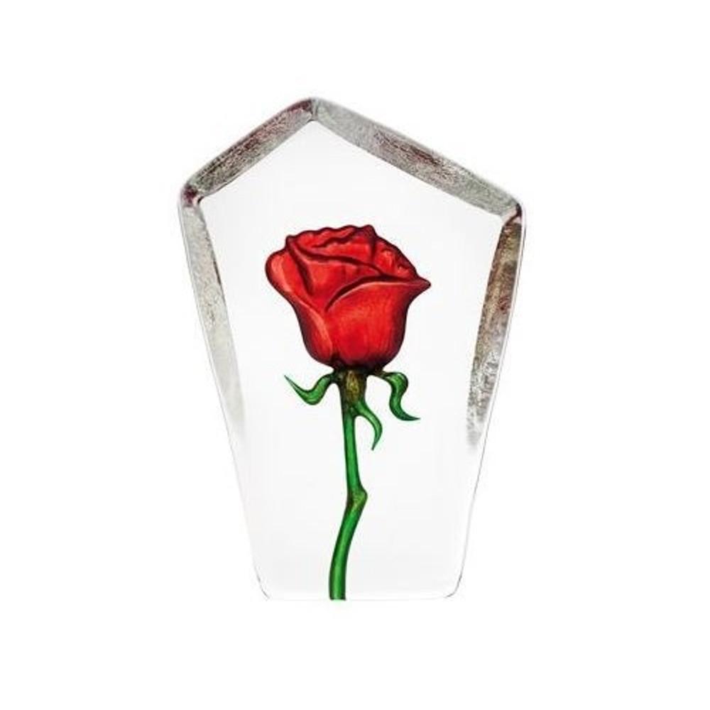 Tall Red Rose Crystal Sculpture | 33871 | Mats Jonasson Maleras