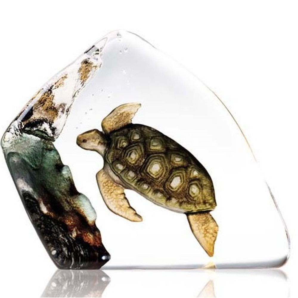 Sea Turtle Crystal Sculpture | 33943 | Mats Jonasson Maleras