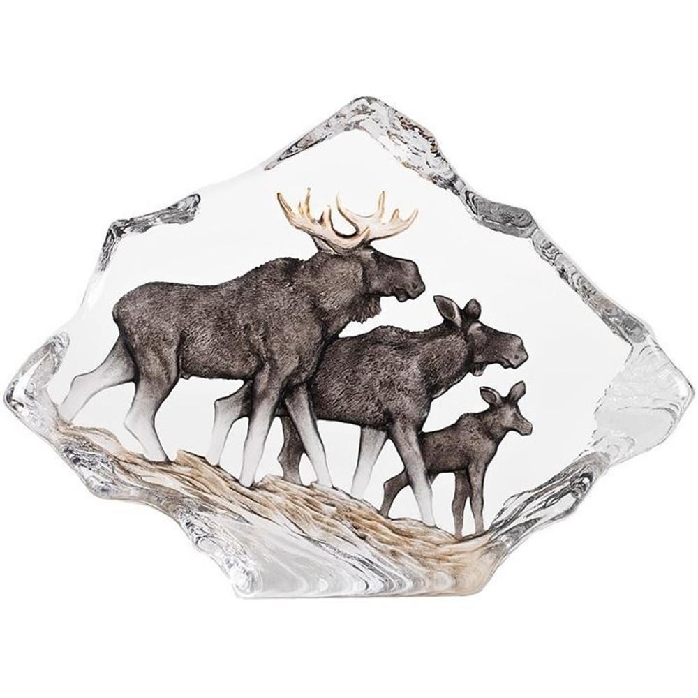 Moose Family Wildlife Crystal Sculpture | 34068 | Mats Jonasson Maleras
