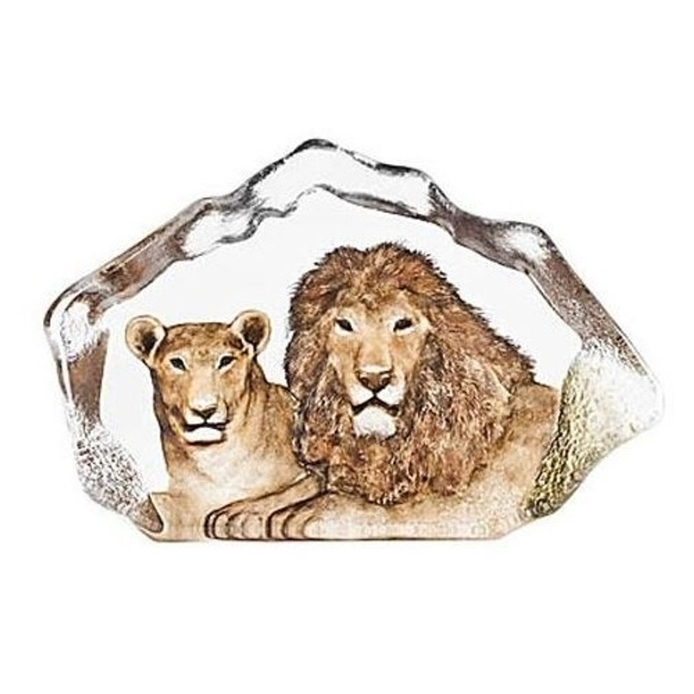Lion Couple Crystal Sculpture | 34112 | Mats Jonasson Maleras