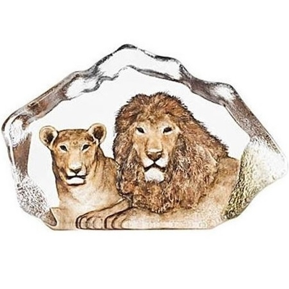 Lion Couple Crystal Sculpture | 34112 | Mats Jonasson Maleras -2