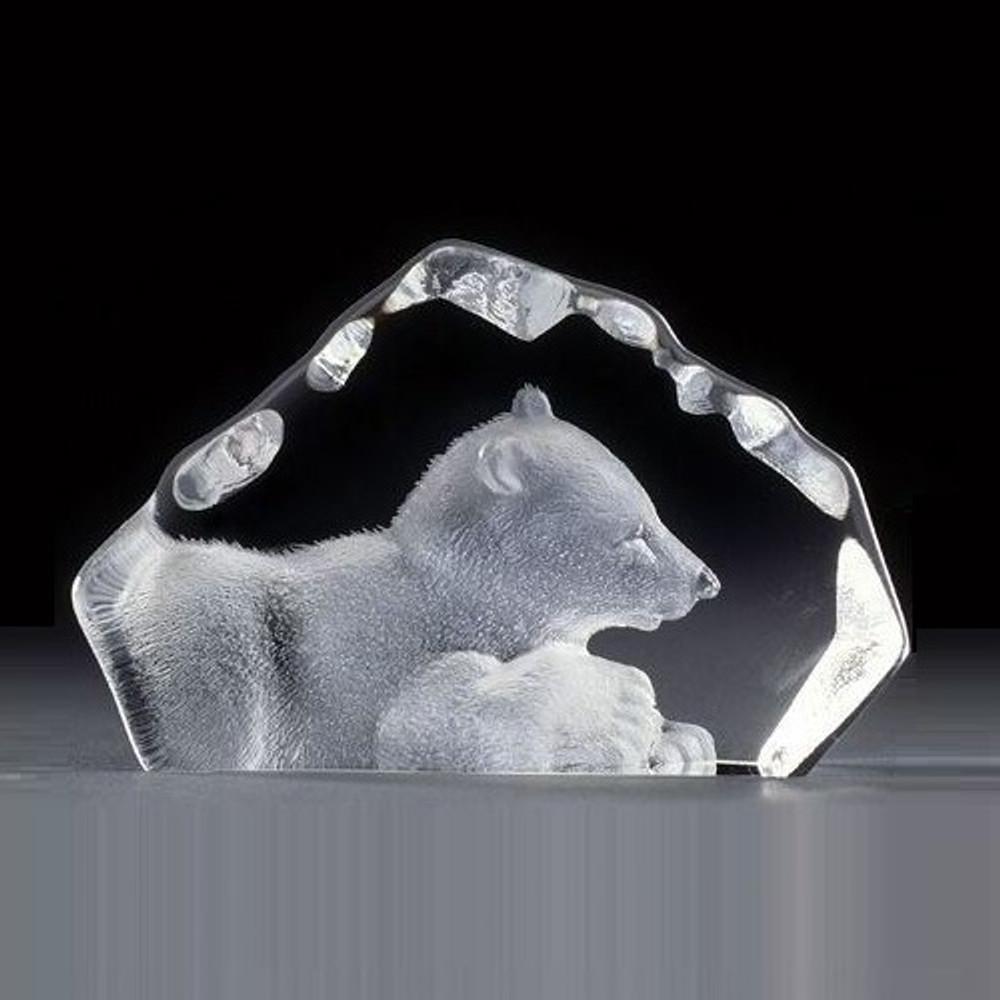 Polar Bear Cub Mini Crystal Sculpture | 88109 | Mats Jonasson Maleras