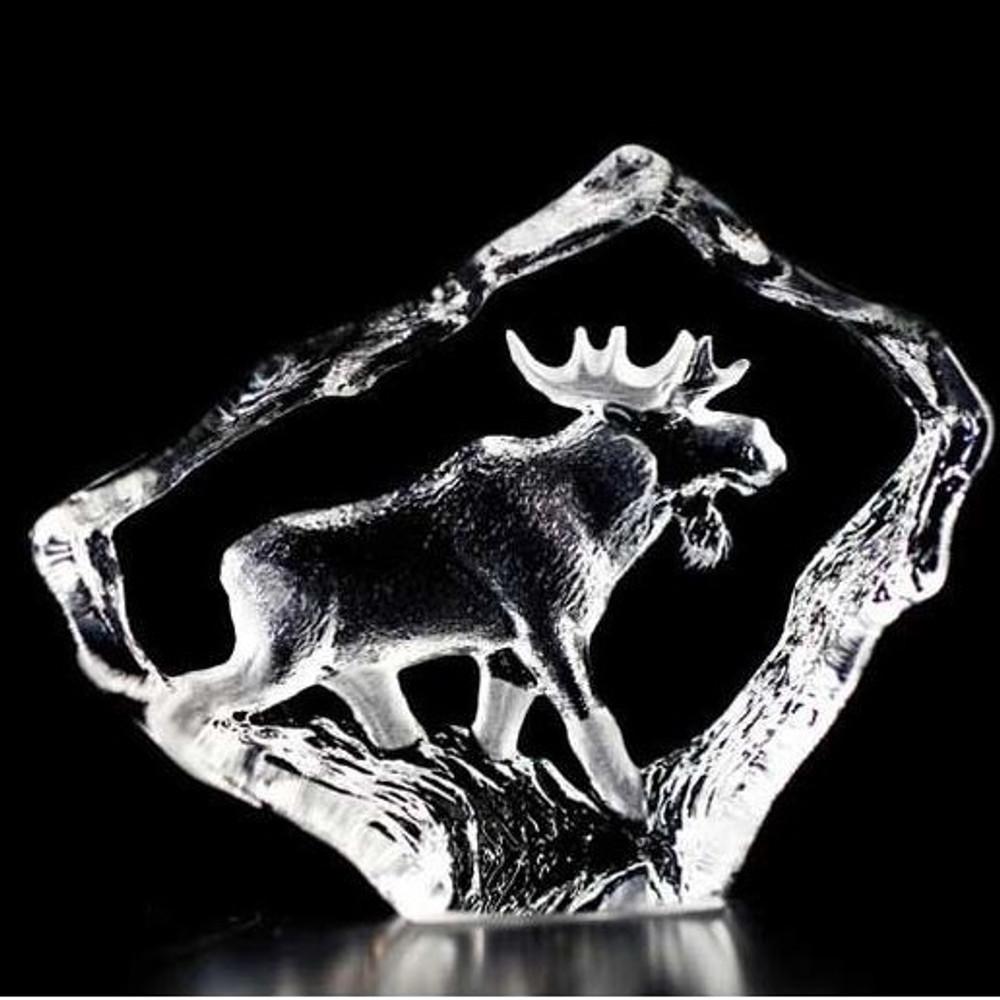 Moose Bull Mini Crystal Sculpture | 88130 | Mats Jonasson Maleras