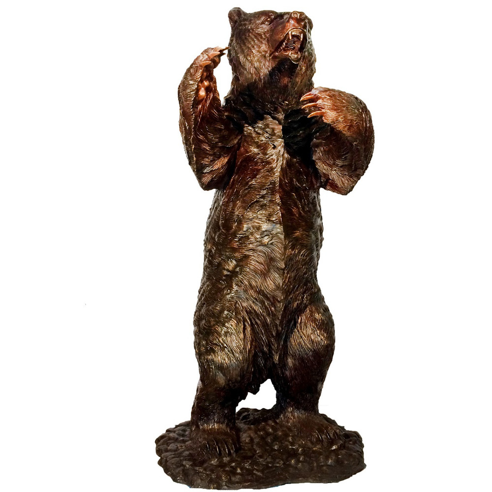 Grizzly Bear Life Size Bronze Outdoor Statue | Metropolitan Galleries | MGISRB10096