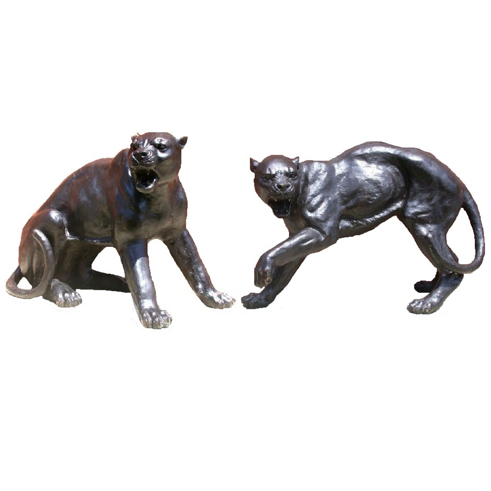 Panther Fighting Pair Bronze Outdoor Statues | Metropolitan Galleries | MGISRB30058 -3