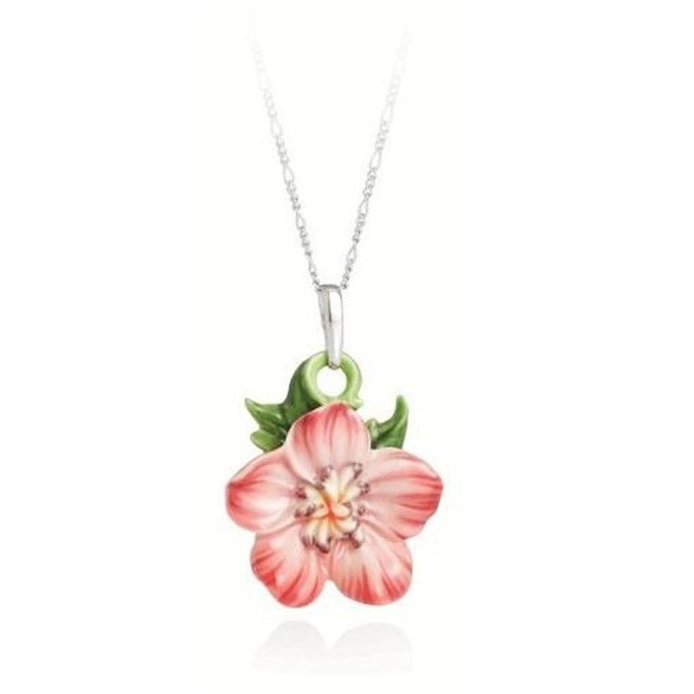 Geranium Flower Necklace | Franz Porcelain Jewelry | FJ00241