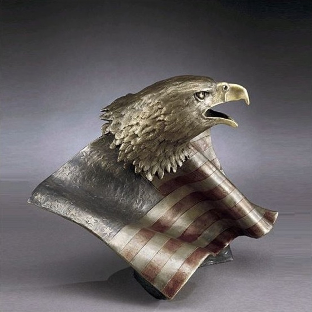 "Bronze Eagle with Flag Sculpture ""Justice for All"" 