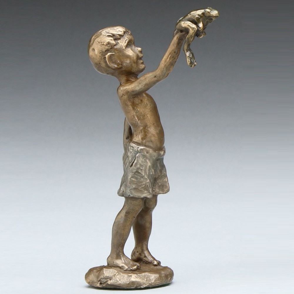 """Frog and Boy Sculpture """"Found a Frog"""" 