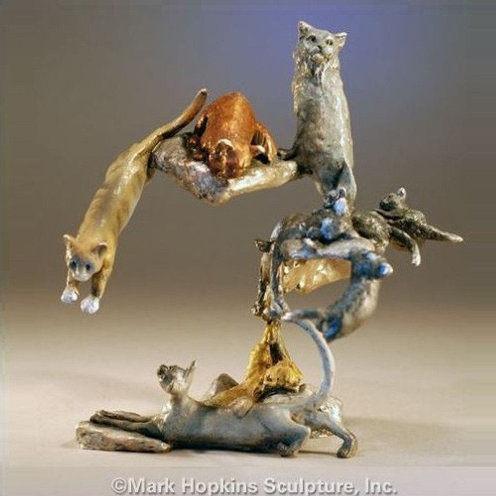 """Cat Sculpture """"Nine Lives""""   Mark Hopkins   MHS72021"""