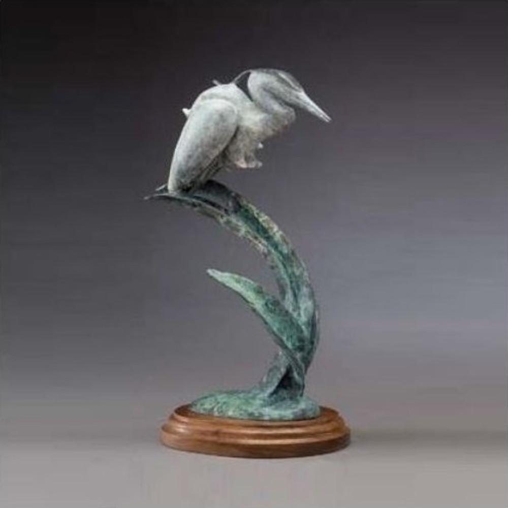 "Heron Bronze Sculpture ""Morning's Calm"" White | Mark Hopkins | MHS81026A"