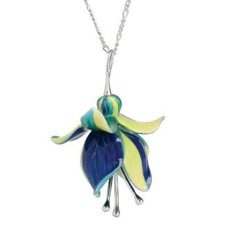 Fuchsia Flower Necklace   Franz Porcelain Jewelry   FJ00266