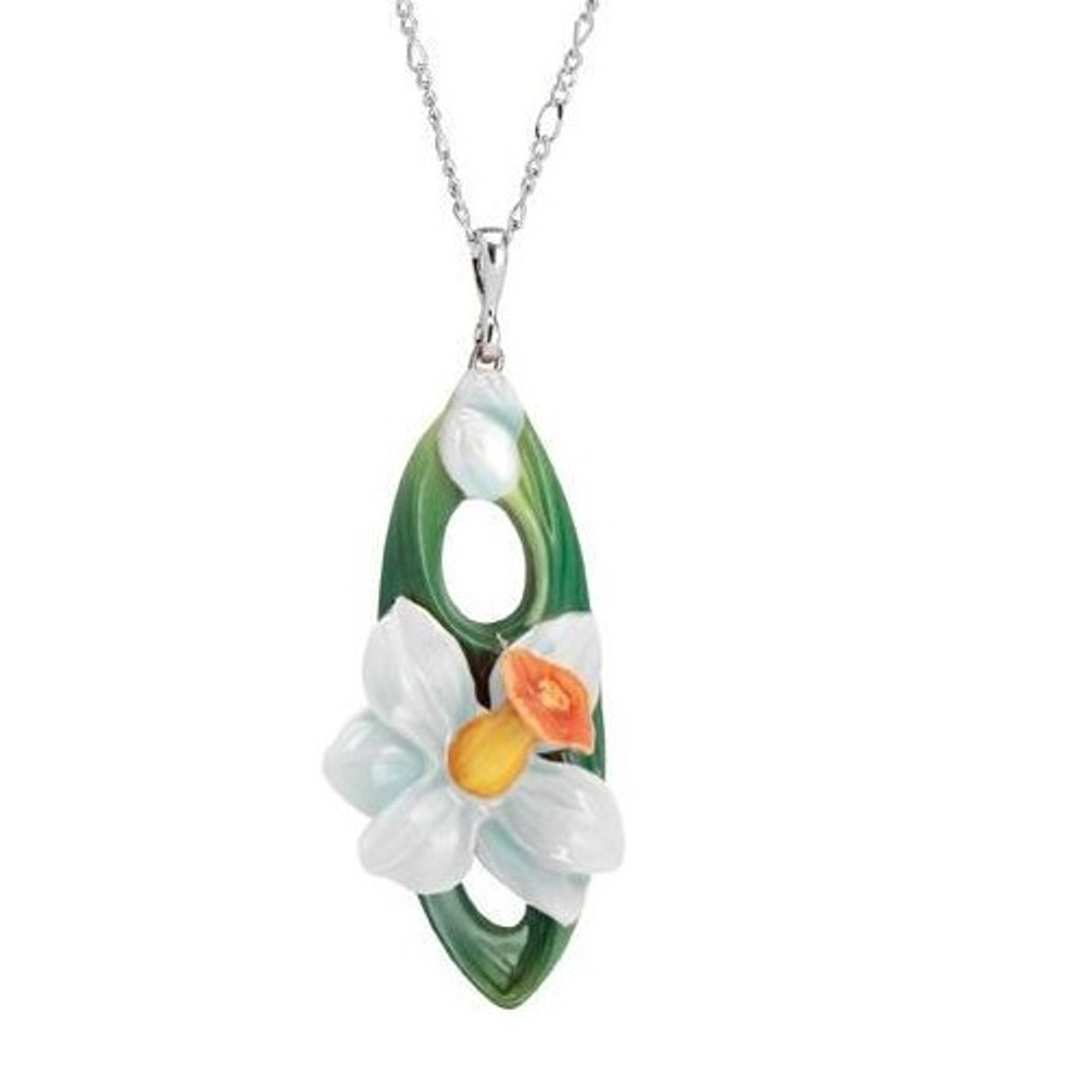 Daffodil Flower Necklace | Franz Porcelain Jewelry | FJ00267