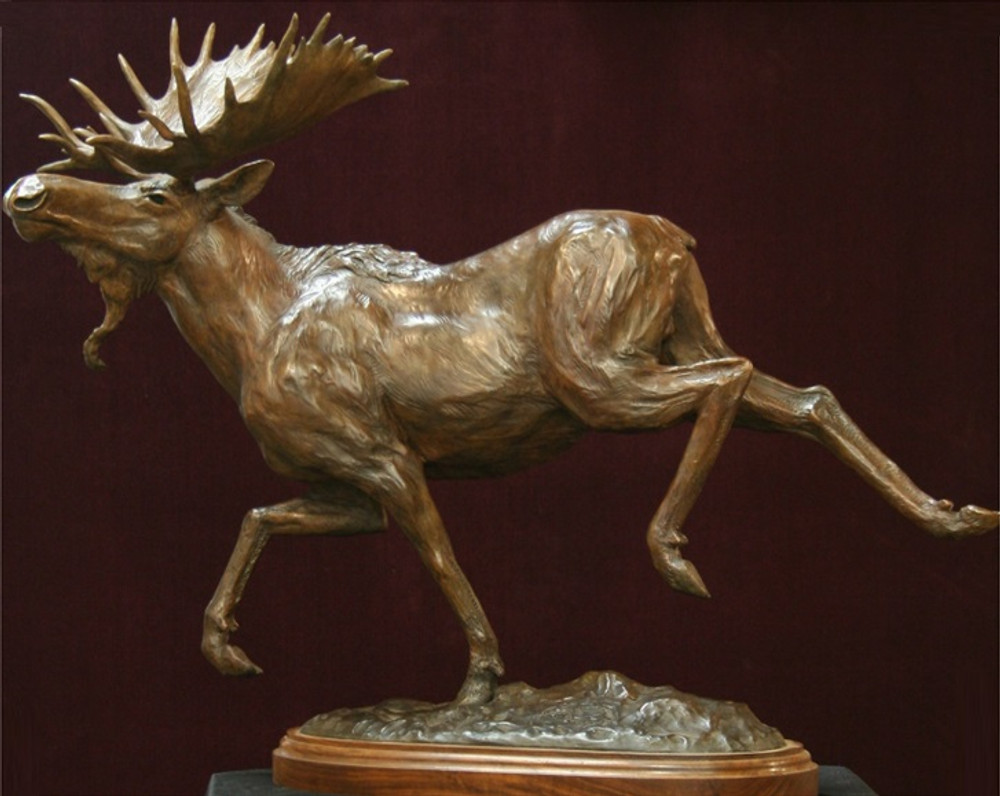 "Moose Bronze Sculpture ""Locomotion""   Scott Lennard   SLB12"