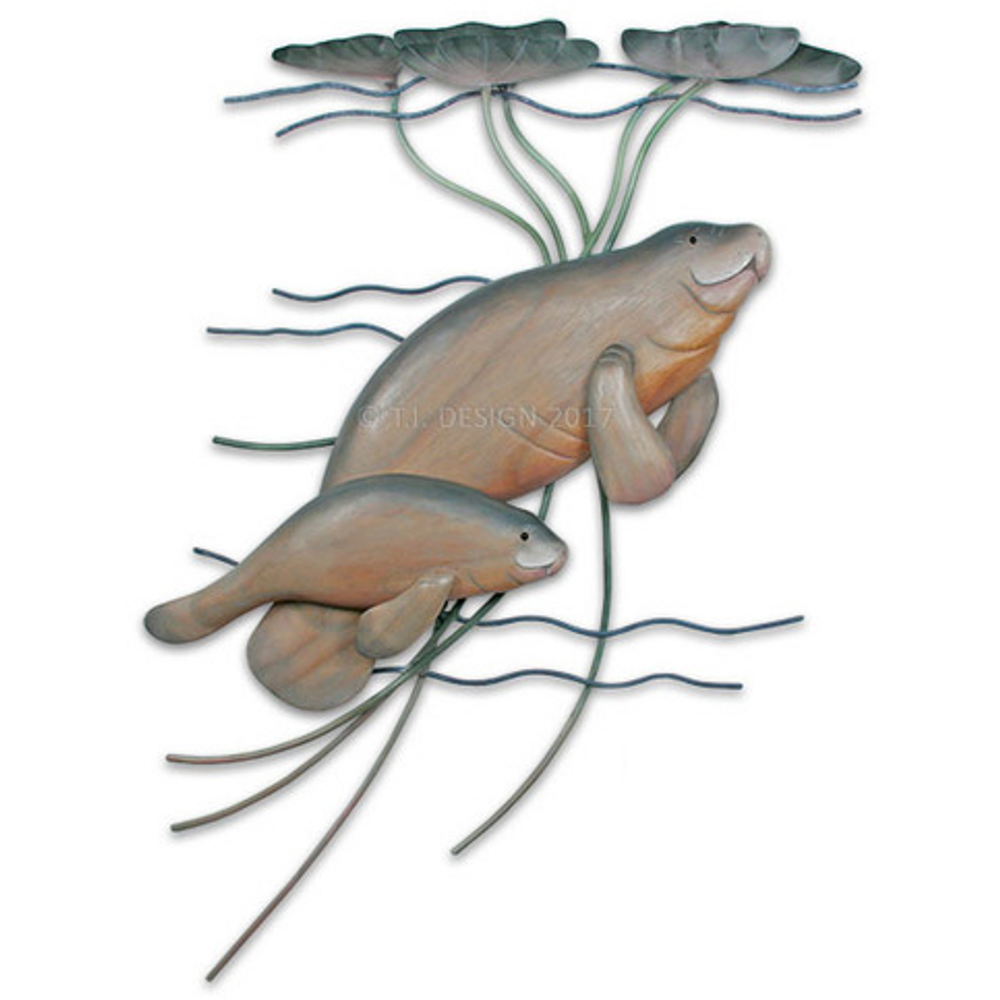 Manatee With Baby Wall Sculpture   TI Design   W230