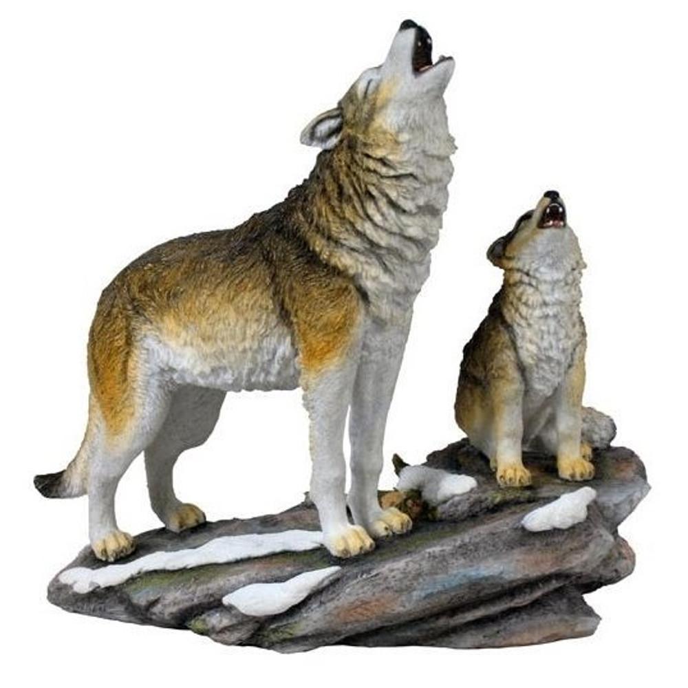 Wolf and Cub Howling Sculpture   Unicorn Studios   wu74621va