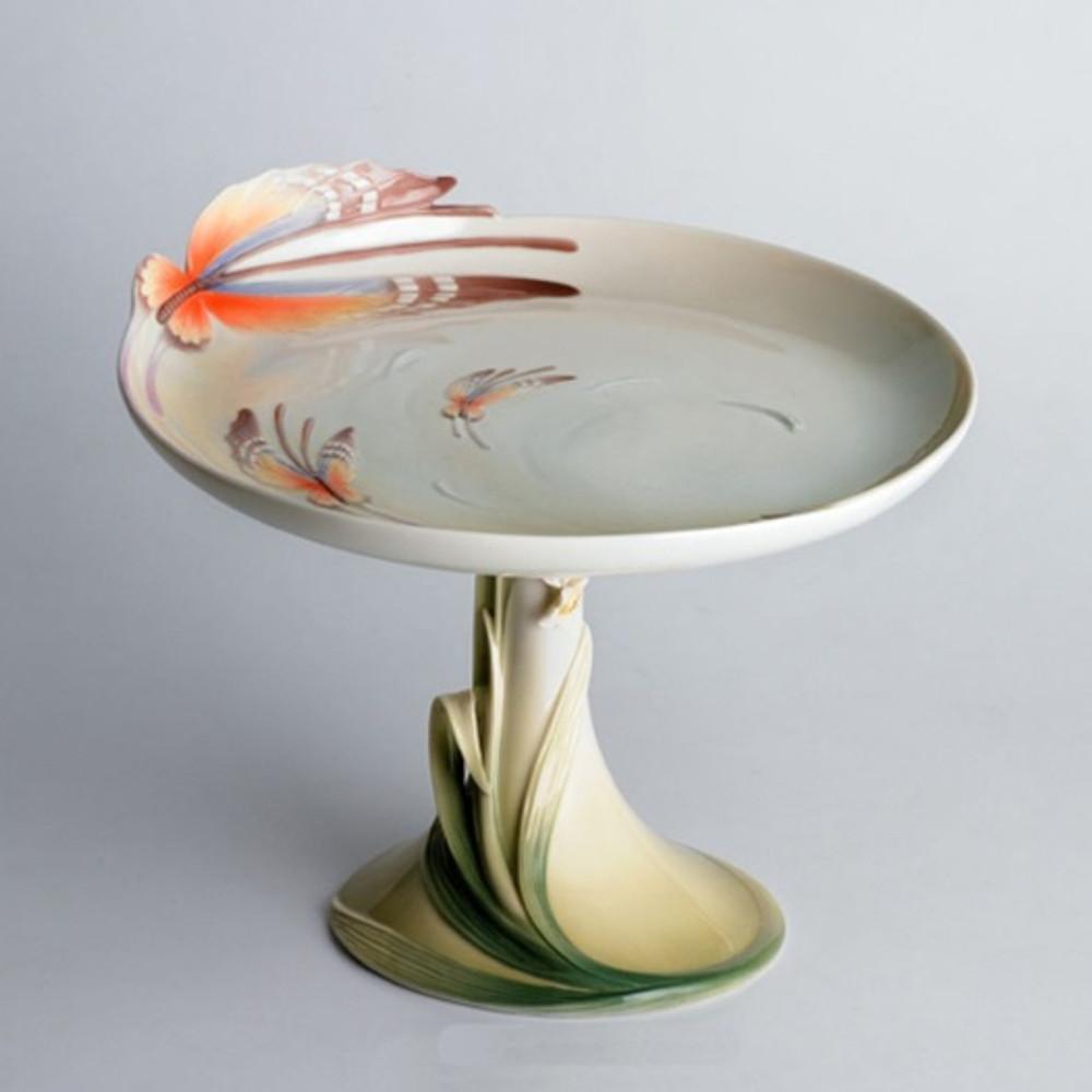 Butterfly Pedestal Cake Plate   fz00433   Franz Porcelain Collection