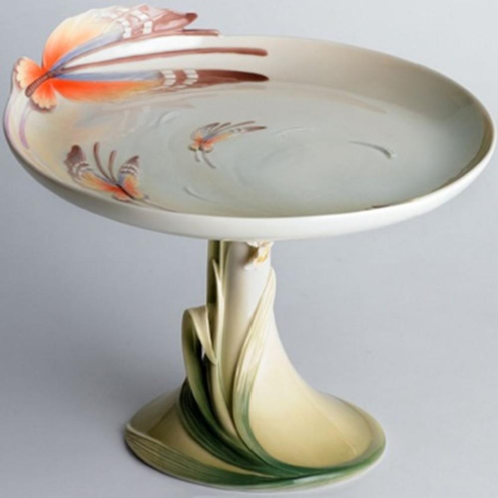 Butterfly Pedestal Cake Plate   fz00433   Franz Porcelain Collection -2