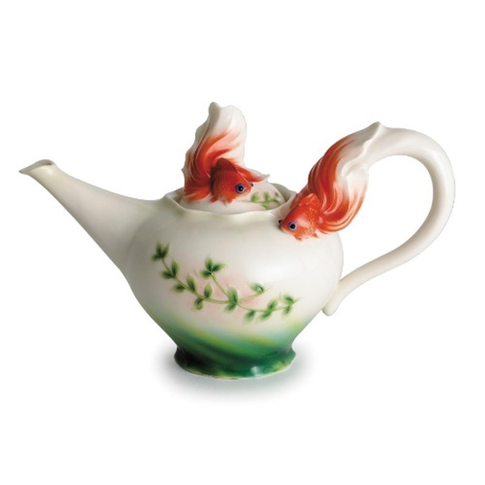 Goldfish Teapot   fz00442   Franz Porcelain Collection