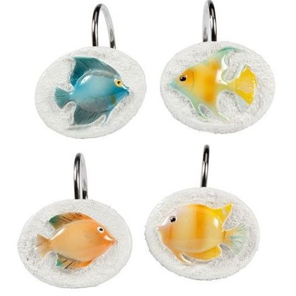 Rainbow Fish Shower Curtain and Hooks Set | Creative Bath | CBS107S-RBF83 -3