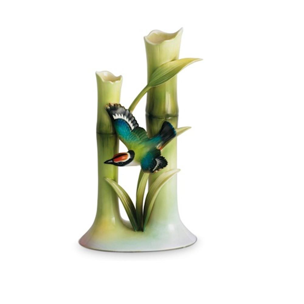 Bamboo Songbird Bud Vase   fz00568   Franz Porcelain Collection
