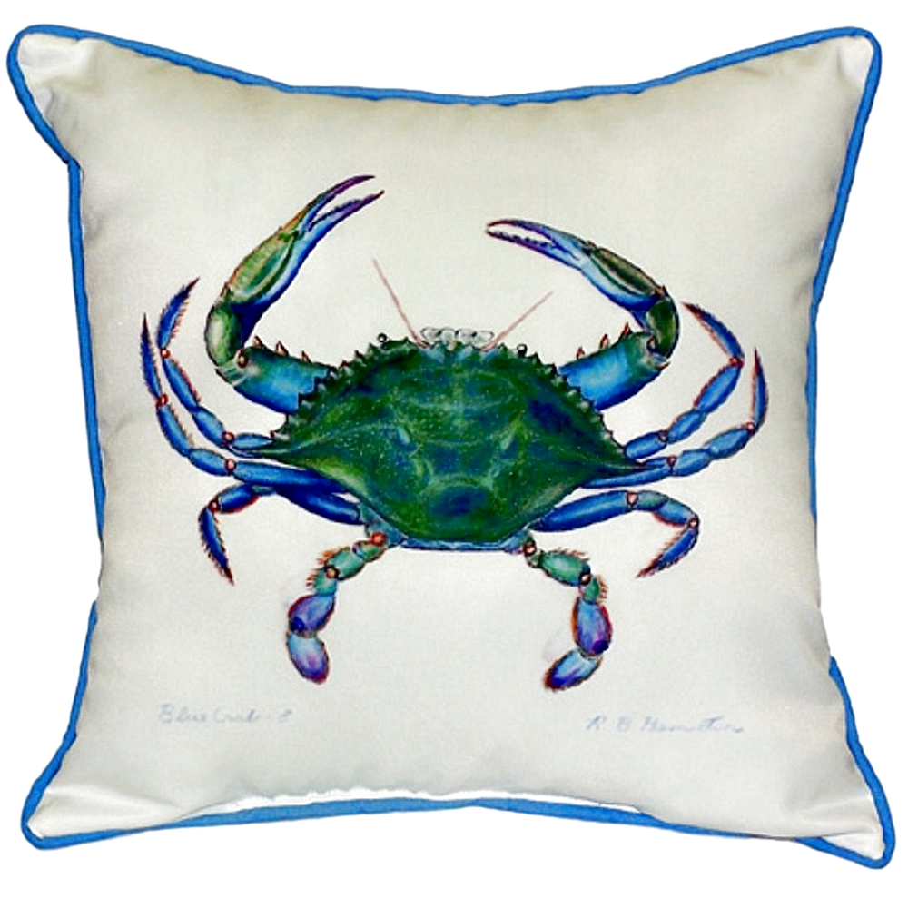 Blue Crab Indoor Outdoor Pillow 22x22 | Betsy Drake | BDZP005