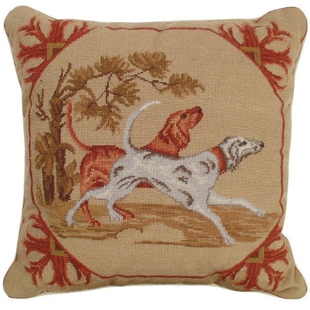 Lancaster Dogs Needlepoint Pillow | Michaelian Home | MICNCU305