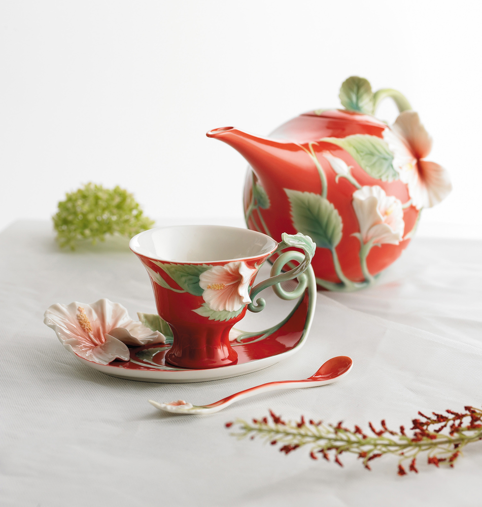 Island Beauty Hibiscus Teapot | fz00983 | Franz Porcelain Collection
