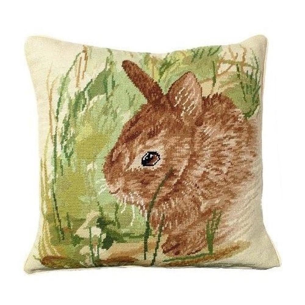 Rabbit Needlepoint Down Pillow Thumper | Michaelian Home | MICNCU-754