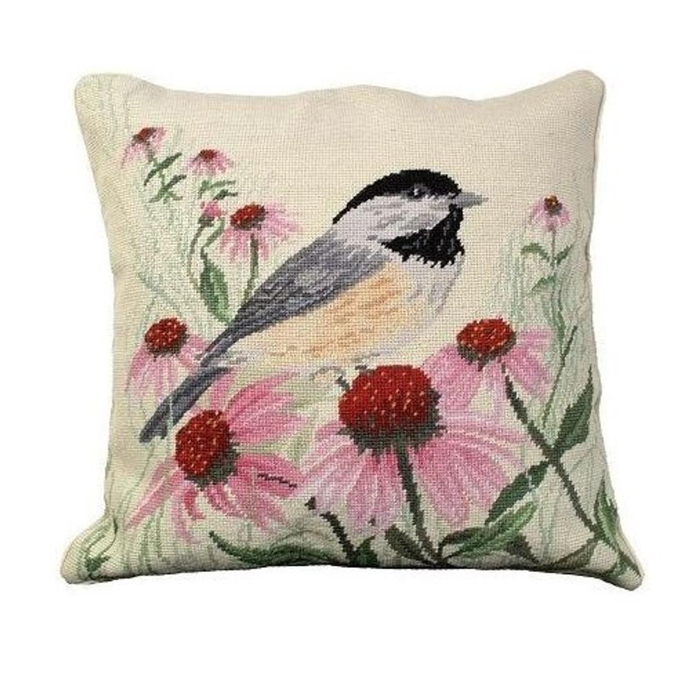Chickadee Needlepoint Down Pillow   Michaelian Home   MICNCU-768