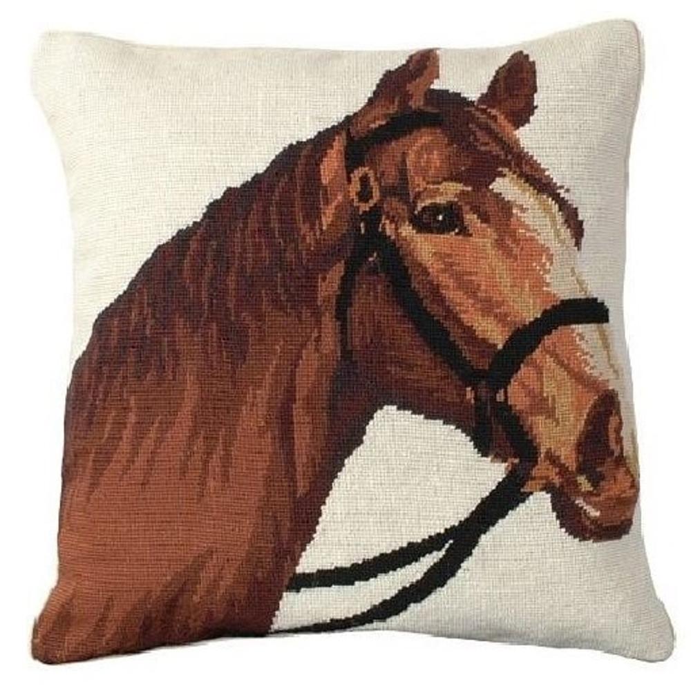 Horse Needlepoint Down Pillow Champ | Michaelian Home | MICNCU780