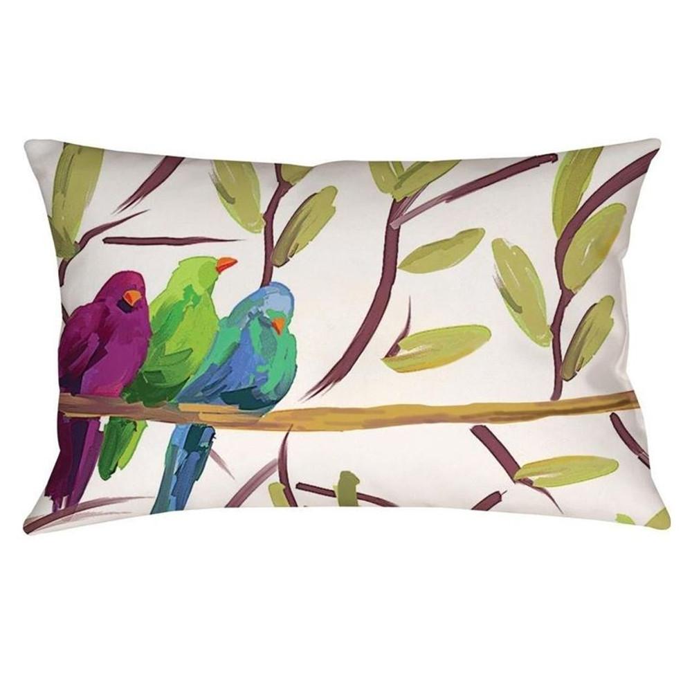 Song Birds Indoor Outdoor Throw Pillow | Manual Woodworkers | MWWSHFTSB