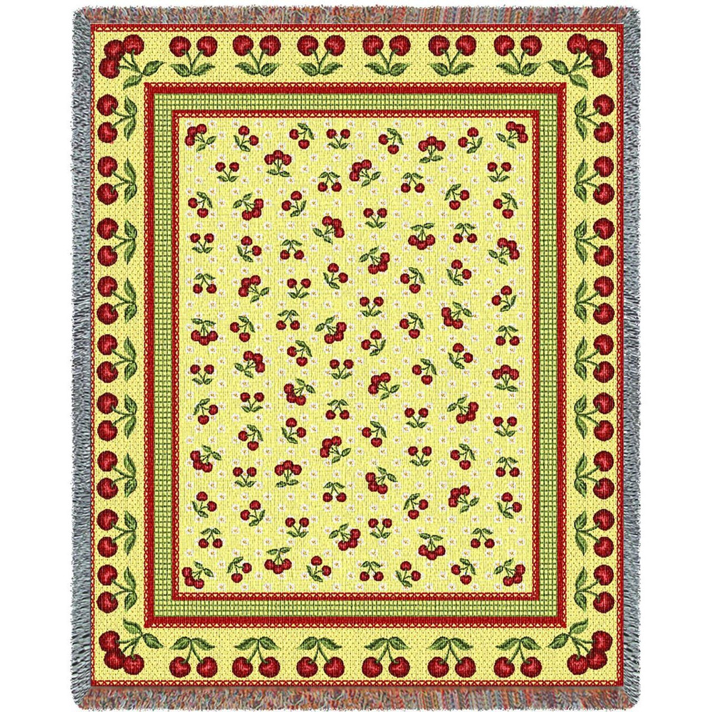 Cherries Jubilee Tapestry Throw Blanket   Pure Country   PC1209T