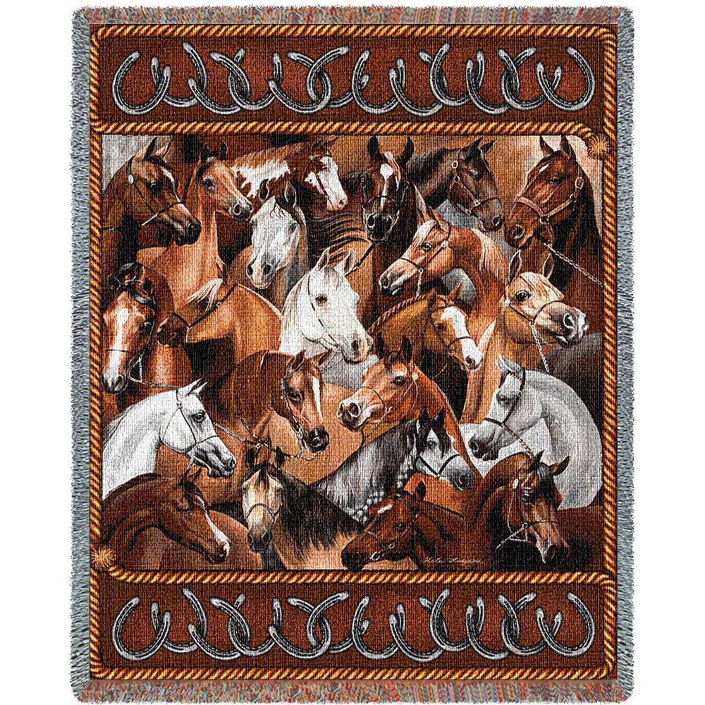 Bridled Horses Tapestry Afghan Throw Blanket | Pure Country | pc1216T
