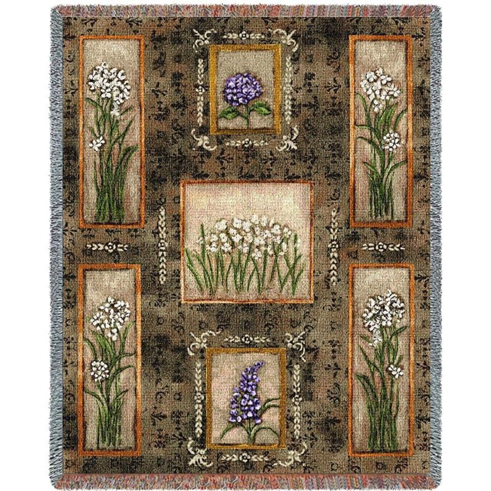 Garden Maze Flower Woven Throw Blanket   Pure Country   pc2166T