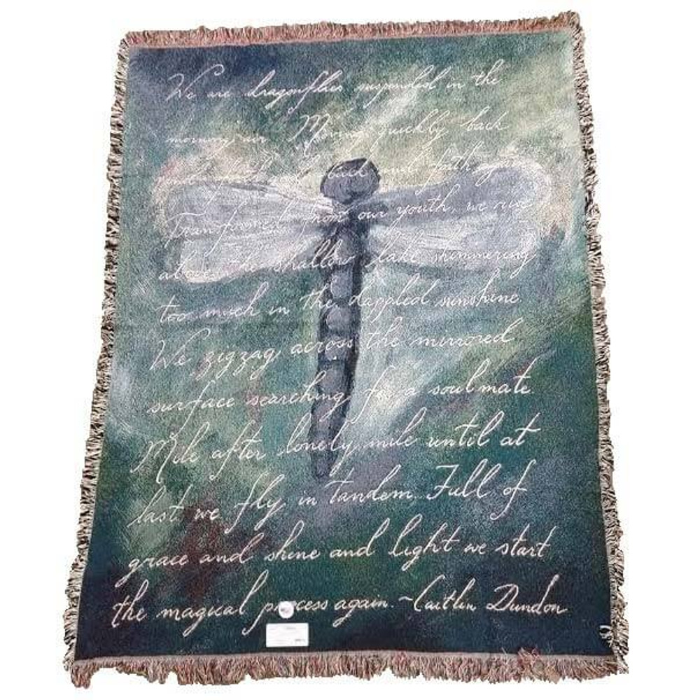 Dragonfly Poem Woven Throw Blanket | Pure Country | pc2399T