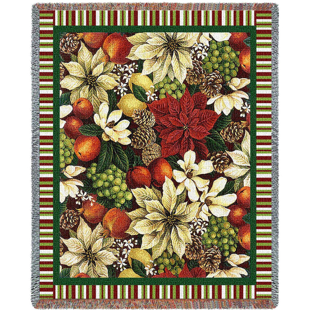 Magnolia & Poinsettia Tapestry Throw Blanket | Pure Country | pc2412T
