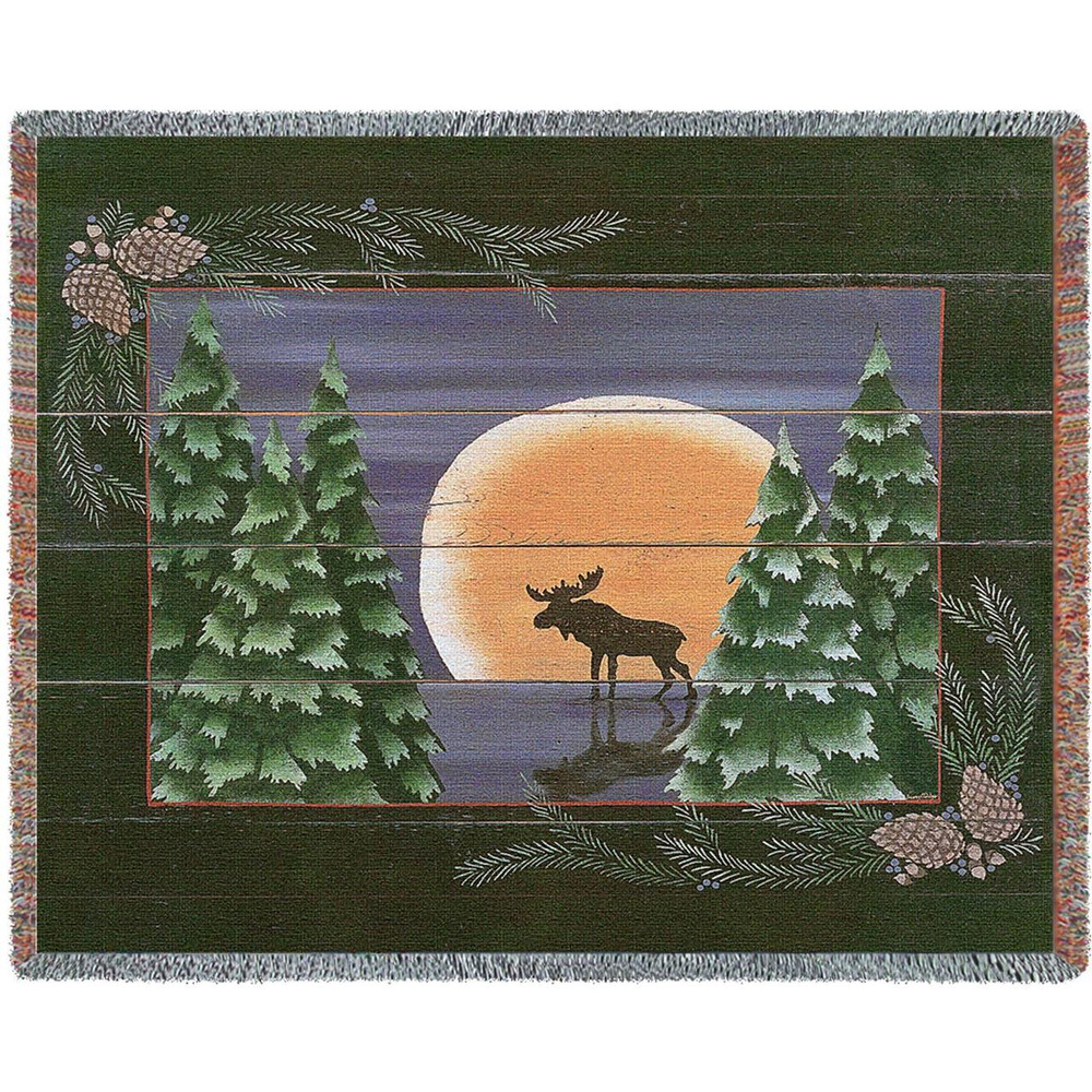 Moose Moonlight Woven Throw Blanket | Pure Country | pc3215T